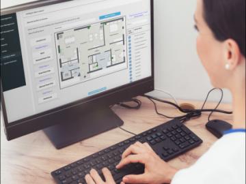 Multitone EkoMS - über die Map-Board-Funktion können Gebäude- und Etagenplä¬ne hochgeladen und die Standorte von fest installierten Funk¬kom¬po¬nen¬ten wie Zimmer- und Bad-Module sowie Funk-Repeater intuitiv per Drag-and-Drop-Funktion punktgenau in den Bereichs¬plänen positioniert werden